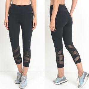 MELISSA Zigzag Mesh Detail Leggings - BLACK